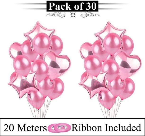 DECOR MY PARTY Solid Pink Balloon Bunch With Heart & Star Shape Foil Balloons For Valentines Day , Birthday Party , Marriage Anniversary ,Pre Wedding Ceremony, Engagement And Other Special Occasions Decoration / Balloon Combo For Decorations Balloon