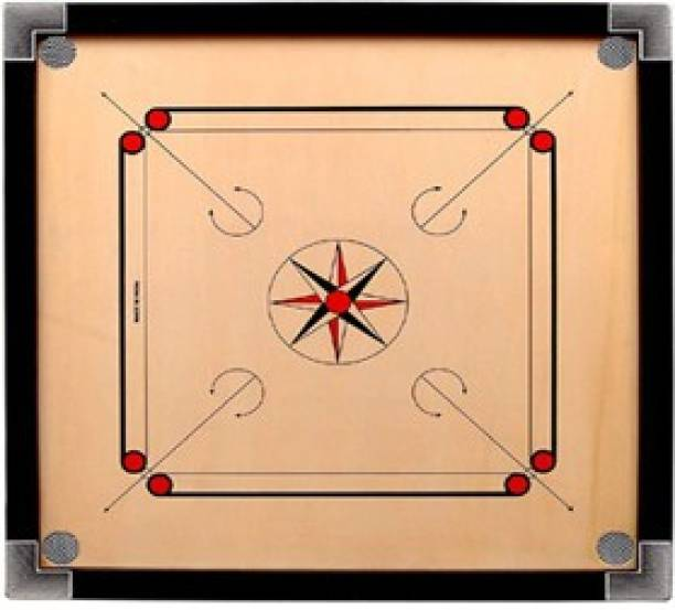 PLAY Rabbits 20 Inch Carrom Small Size with Plastic Coins/Striker/Powder (Round Pocket) 50.8 cm Carrom Board