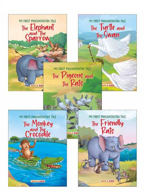My First Panchatantra Story (Set of 5 Books) - Story Book for Kids - Colourful Pictures - The Turtle and the Swan, The Monkey and the Crocodile, The Elephant and the Sparrow, The Friendly Rats, The Rat that Saved His Friends