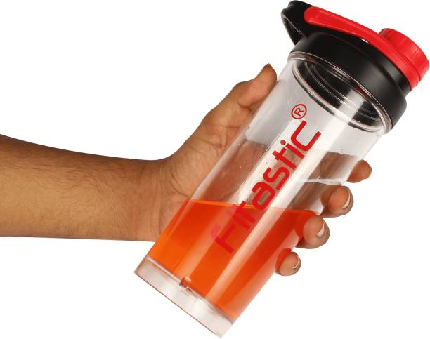 Fitastic Dynamo Protein Shaker Bottle with Steel Ball 700ML(transparent-red)  700 ml Shaker