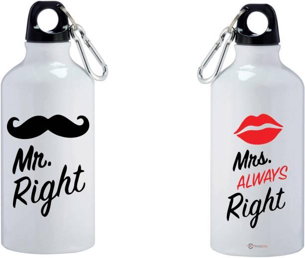 PrintZilla Mustache Mr. Right & Kissable Mrs. Always Right Printed Aluminium Combo 600 ml Bottle