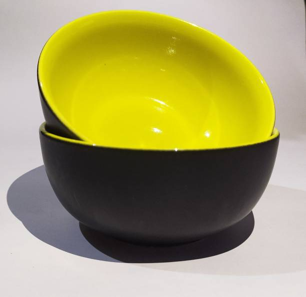 SEPARATE WAY Separate Way Ceramic Large Soup Bowl 850ML 7 Inch Diameter Yellow and Blue Colour Set of 2 Ceramic Soup Bowl