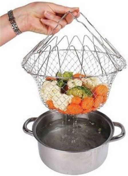Upal Enterprise Mavani enterprise Chef Foldable Steam Basket Collapsible Deep Frying Basket