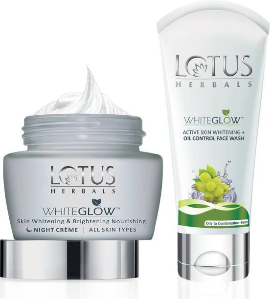 LOTUS HERBALS WHITEGLOW Skin Whitening & Brightening Nourishing Night Crme 60 gm & OIL CONTROL FACEWASH 50 gm