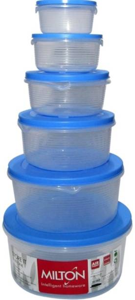 MILTON stack store it container (set of 6)  - 3000 ml, 2000 ml, 1000 ml, 600 ml, 400 ml, 200 ml Plastic Utility Container