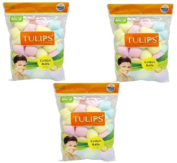 Tulips (KF) Combo of 3 Pack of Multicolor Cotton Balls -Multipurpose use- Skin care, Beauty care & household purpose