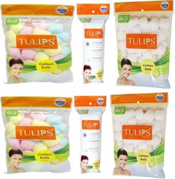 Tulips Karki Fusion Combo of 2 x Multi Color cotton Balls ; 2 x White Cotton Balls ; 2 x Cotton Pads for makeup removing and nail polish removing