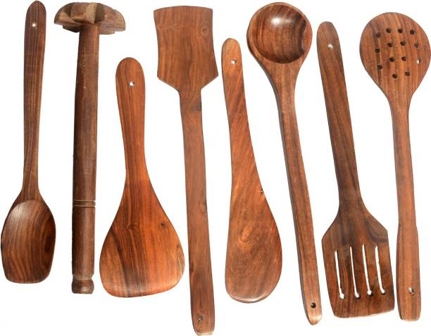 All About Wood Sheesham Wooden Eco-Friendly- (Set of 7 Serving & Ladle spoons + 1 Madani)- Brown Wooden Cutlery Set