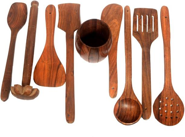 All About Wood Sheesham Wooden - (Set of 7 Serving & Ladle spoons + 1 Madani + Pen Jar)- Brown Wooden Cutlery Set