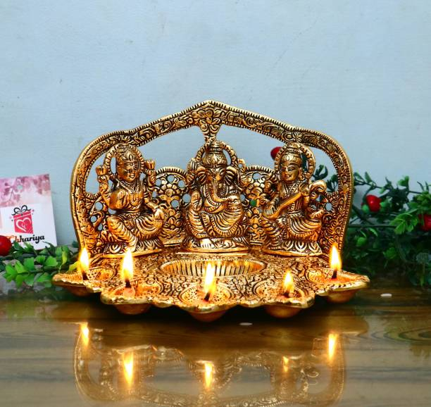 Chhariya Crafts Laxmi Ganesh Saraswati Idol With 5 Face Diya For Home And Office Aluminium Table Diya