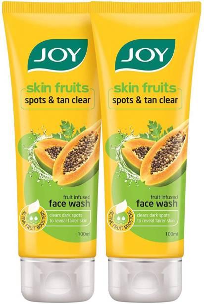 Joy Skin Fruits Spots & Tan Clear Papaya  (Pack of 2 x100ml) Face Wash