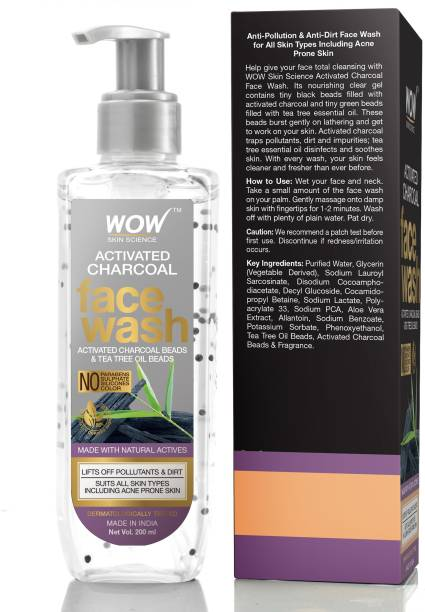 WOW SKIN SCIENCE Activated Charcoal  - with Activated Charcoal & Tea Tree Oil Beads - Removes Pollutants & Dirt - No Parabens, Sulphate, Silicones & Color - 200mL Face Wash