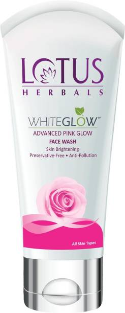 LOTUS HERBALS WhiteGlow Advanced Pink Glow  For Skin Brightening & Gentle Cleansing with Anti-Pollution Property, Preservative Free formula Face Wash
