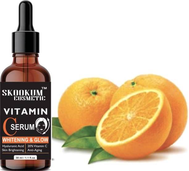 SKOOKUM Vitamin C 20% Serum - With Hyaluronic Acid And Vit E - Wrinkle Repairs Dark Circles