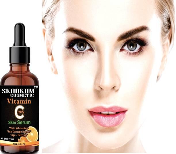 SKOOKUM Vitamin C Serum for face& Skin with Hyaluronic acid, Ascorbic acid, Aloe vera and Grape seed extract