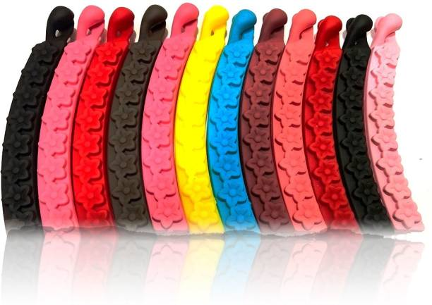 BHARATGAURAV Banana clips Thick Curved Matte Multi-color, Multi Patterns medium size (Pack of 12) Banana Clip (Multi Color) Banana Clip