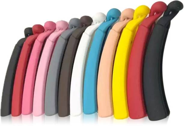 BHARATGAURAV Banana clips Thick Curved Matte Multi-color, medium size (Pack of 12) Banana Clip (Multi Color) Banana Clip