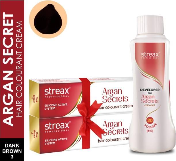 Streax Argan Hair Colourant No 3 +Developer 20 V,250ml , Dark Brwon