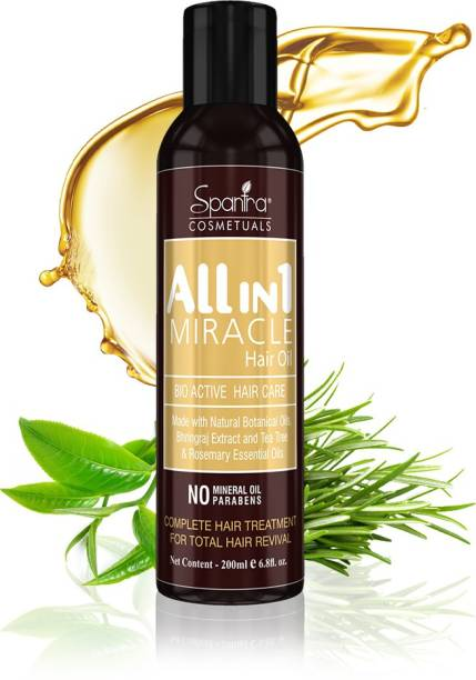 Spantra All in 1 Miracle Hair Oil with Bhringraj Extract and Multi Vitamin Oil for complete Hair treatment for Total hair Revival, No Minerals Oil,No Parabens , Hair Oil