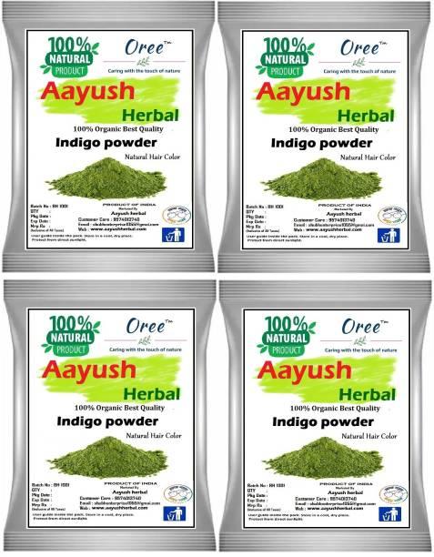 Aayush herbal INDIGO POWDER PREMIUM QUALITY 100% Natural For Hair Color (100gX4)