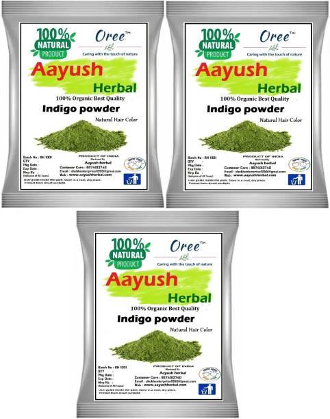 Aayush herbal INDIGO POWDER PREMIUM QUALITY 100% Natural For Hair Color (100gX3)