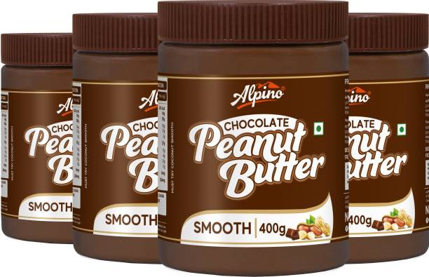 ALPINO Chocolate Peanut Butter Smooth 1600 G   Made with Roasted Peanuts, Cocoa Powder & Choco Chips   20% Protein   Non GMO   Gluten Free   Vegan   400 G Pack of 4   1.6 kg