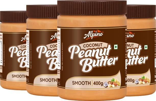 ALPINO Coconut Peanut Butter Smooth 1.6 KG - Super Saver Pack [India's 1st Coconut Peanut Butter / Gluten Free / Non-GMO / Vegan (400 G, Pack Of 4)] 1.6 kg