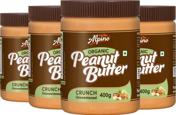 ALPINO Organic Natural Peanut Butter Crunch 1.6 KG - Super Saver Pack [Unsweetened / Gluten Free / Non-GMO / Vegan (400 G, Pack Of 4)] 1.6 kg