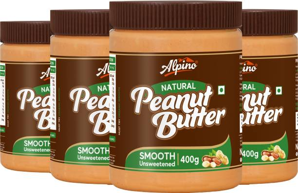 ALPINO Natural Peanut Butter Smooth 1.6 KG - Super Saver Pack [Unsweetened / Gluten Free / Non-GMO / Vegan (400 G, Pack Of 4)] 1.6 kg