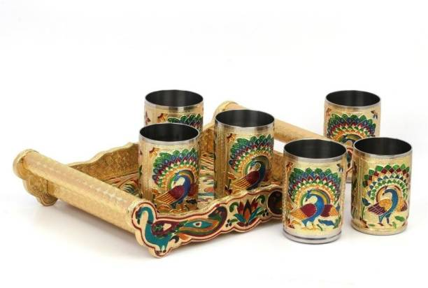 Bluwings Meenakari Peacock design Serving Tray with Matching Glass set with Handle (Golden) Glass Tray Set