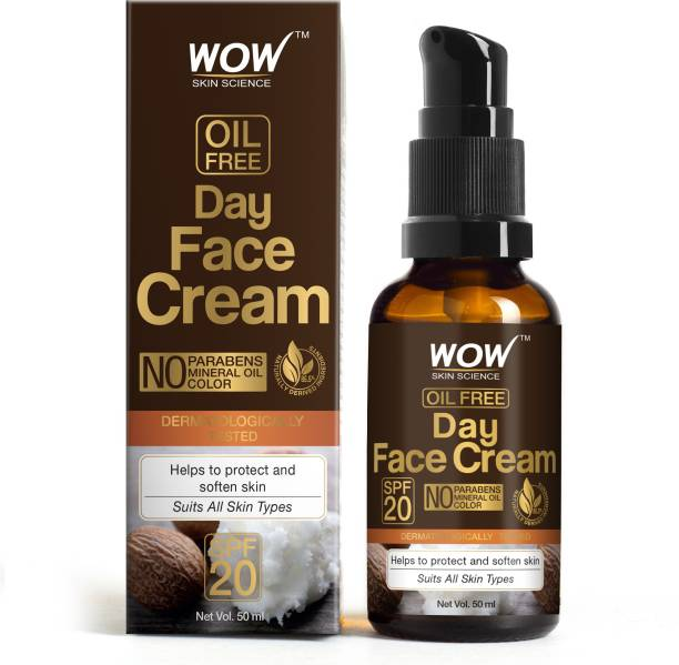 WOW SKIN SCIENCE Day Face Cream - SPF 20 - with Rosehip Oil & Shea Butter - OIL FREE - Quick Absorbing - Protect & Soften Skin - No Parabens, Mineral Oil & Color - 50mL