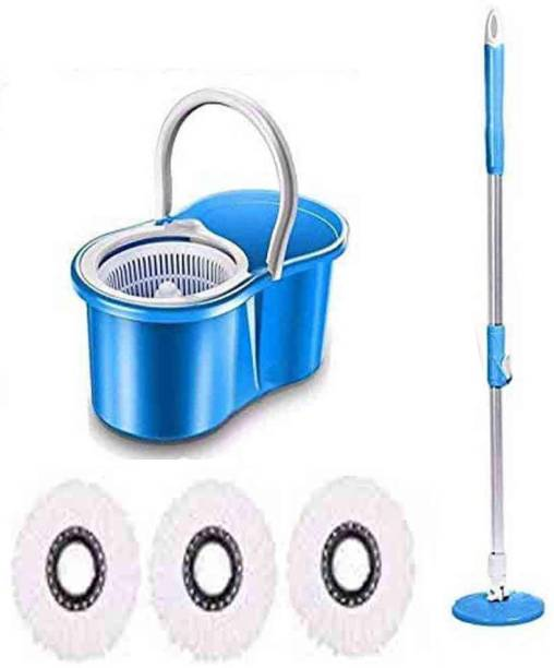 GTC Plastic Easy Magic 360 Degree Floor Cleaning PVC Dryer Bucket Mop Color May Vary Mop Set