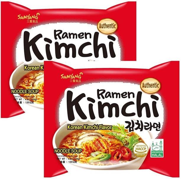 Samyang Kimchi Hot Chicken Ramen Noodles , 120gm ( Pack Of 2 ) Instant Noodles Non-vegetarian