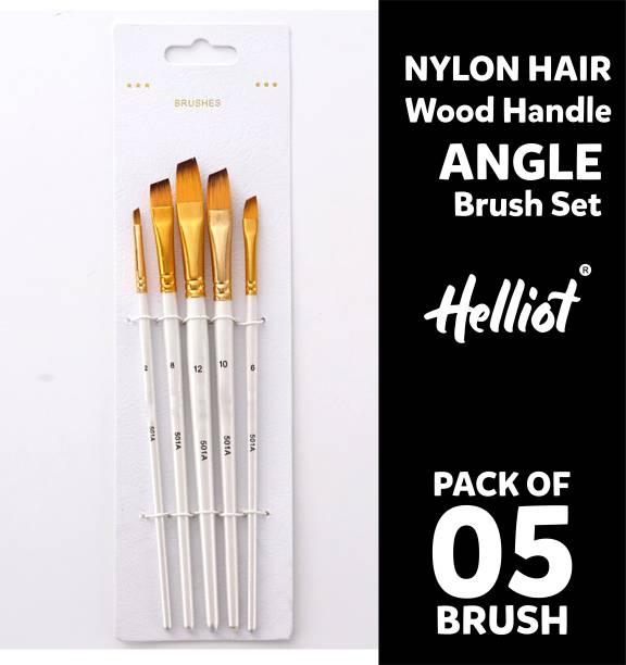 Helliot Angular Paint Brushes; Professional Oil Paint Brush Set; Anti-Shedding Nylon Hair to use Acrylic Colour, Oil Colour, Water Colour and Gouache. Set of 5 Brush