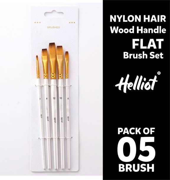 Helliot Flat Paint Brushes; Professional Oil Paint Brush Set; Anti-Shedding Nylon Hair to use Acrylic Colour, Oil Colour, Water Colour and Gouache. Set of 5 Brush