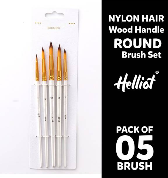 Helliot Round Paint Brushes; Professional Oil Paint Brush Set; Anti-Shedding Nylon Hair to use Acrylic Colour, Oil Colour, Water Colour and Gouache. Set of 5 Brush