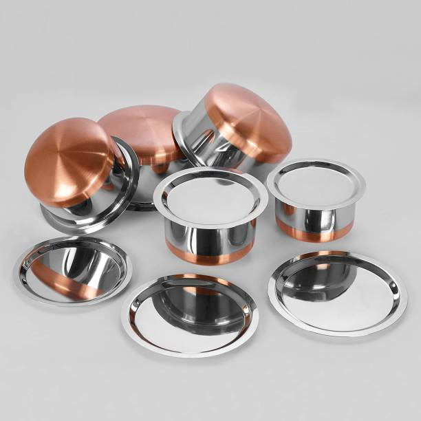 RBGIIT Pack of 10 Stainless Steel Pack of 10 Stainless Steel Perfect Copper Handi Set for Everyday Use Whether you want to cook a delicious serving of your favourite sabzi or heat leftover curries from the previous day, the 5-piece copper handi set, Prabhu Chetty, Curved Copper Plate at Bottom, Best Quality Stainless Steel Copper Bottom 5 Pic Handi Pot Set, Brown & Steel, 5 Pic Handi Copper Vegetable Bowl ,Cooking Dinner Table Serving Biryani Pot Handi Kadhai , Panikarilikka Steel Handi 5 Pices Sets Dinner Set