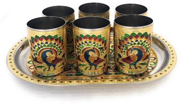 Bluwings Meenakari Peacock design Serving Stainless Steel Tray with Matching Glass set (Golden) Tray, Glass Serving Set