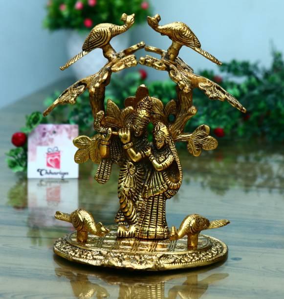 Chhariya Crafts Radha Krishna Standing Under Tree And Playing Flute Idol Decorative Showpiece  -  24 cm