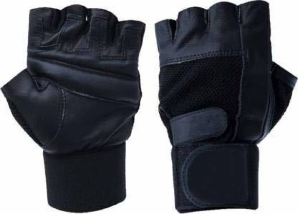 AV Brands SVenterorises Leather Gym Gloves for Men with Wrist Support Band for Weight Gym & Fitness Gloves