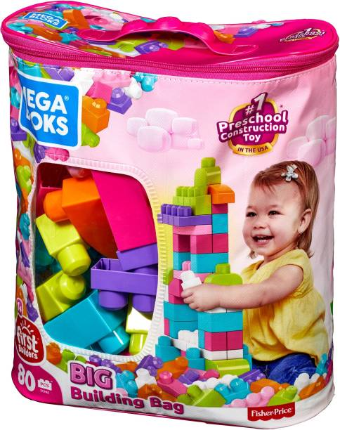 Mega Bloks Big Building Bag, Pink Color (80 Pcs)