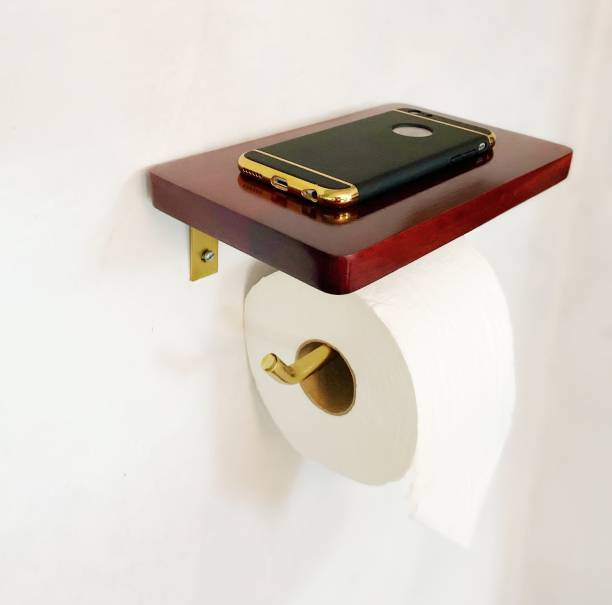Sarman wood and golden toilet paper holder towel holder with shelf multi purpose Wooden Toilet Paper Holder