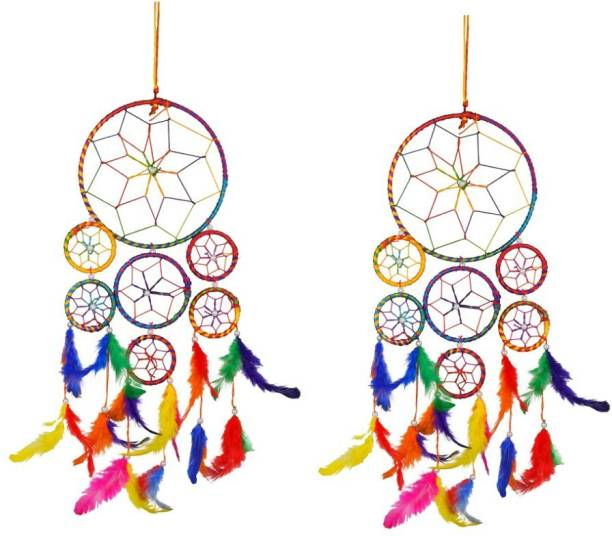 Ryme Car And Room Hanging 7 Rings Dream Catcher, Attract Positive Dreams (Pack Of 2) Wool Windchime