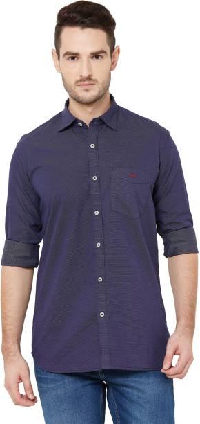 DONZELL Men Self Design Casual Dark Blue Shirt
