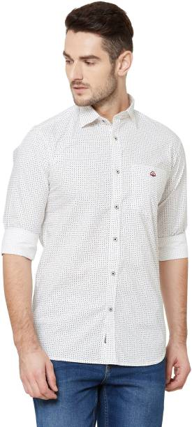 DONZELL Men Printed Casual White Shirt