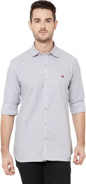 DONZELL Men Polka Print Casual Grey Shirt