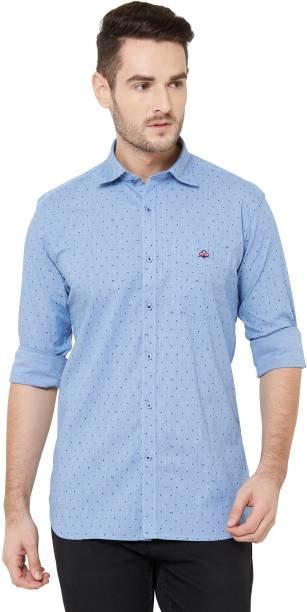 DONZELL Men Polka Print Casual Light Blue Shirt