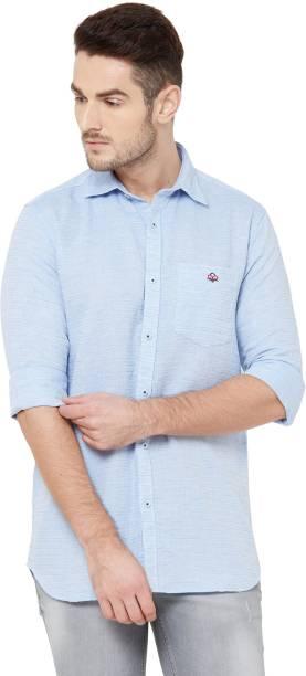 DONZELL Men Striped Casual Light Blue Shirt