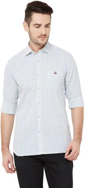 DONZELL Men Checkered Casual White Shirt