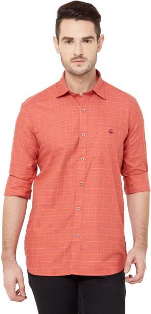 DONZELL Men Checkered Casual Red Shirt